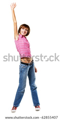 Young happy woman, isolated on white background