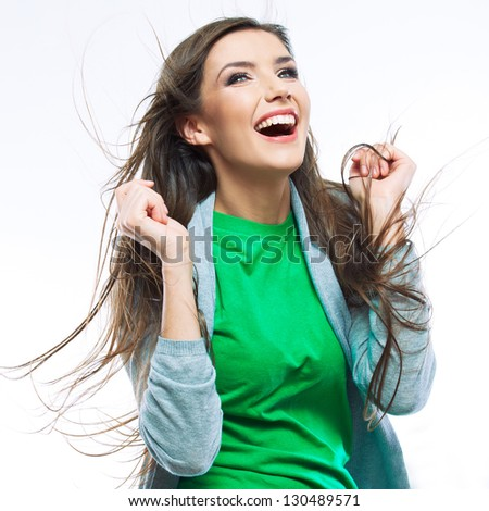 Young happy woman portrait isolated on white background