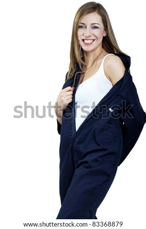 young happy woman wearing mechanics overalls uniform