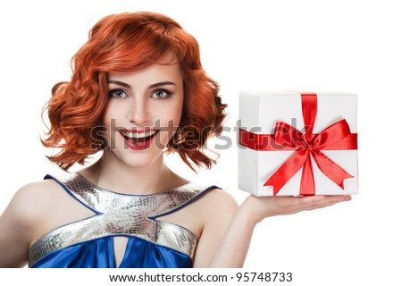 Young happy woman with a gift