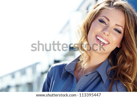Young happy women or student on the property business background stock photo
