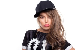 Young hip hop woman portrait isolated on white bg