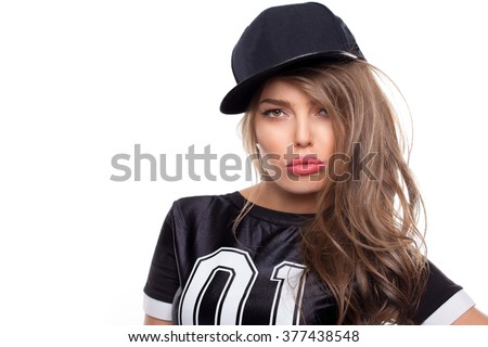 Young hip hop woman portrait isolated on white bg #377438548