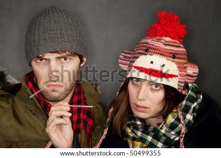 Young Hipster Couple with Colds or the Flu
