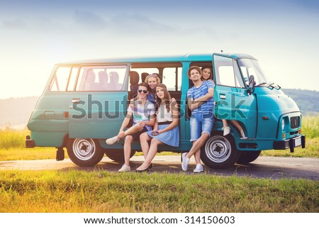 Young hipster friends on road trip on a summer day #314150603