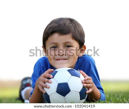 Young hispanic boy with soccer ball with partial isolation on white background