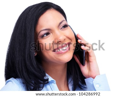 Young hispanic business woman calling by phone. Isolated on white background.