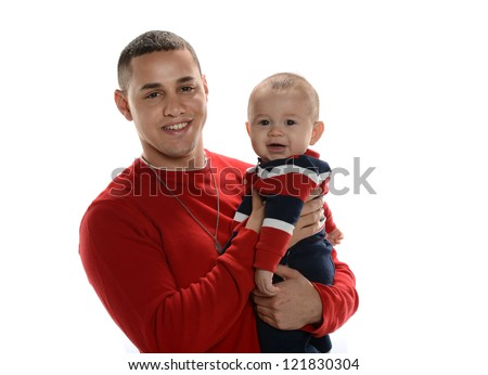 Young hispanic father holding his son isolated on a white background