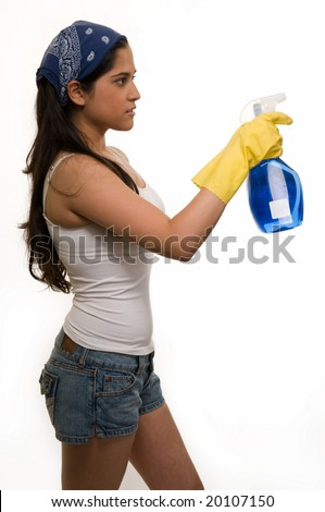 Woman Wearing Rubber Gloves And Holding Dish Soap Stock Photo