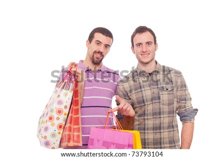 Young Homosexual Couple with Shopping Bags - stock photo