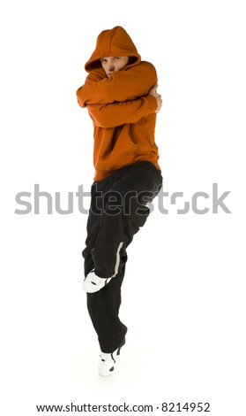 Young Hooded Man Standing On One Leg In Bboy'S Pose ...