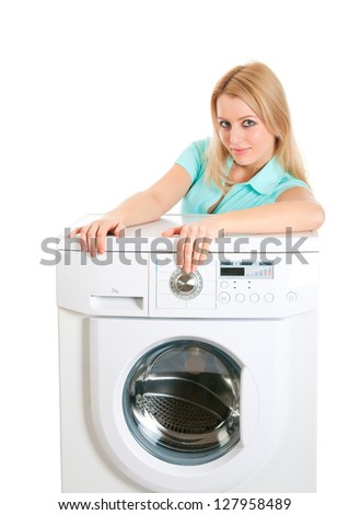 Young housewife beautiful appearance with just bought a washing machine.