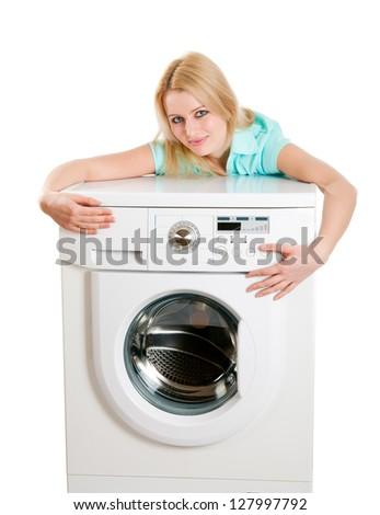 Young housewife beautiful appearance with just bought a washing machine. A series of studio shots. Isolated on white background.