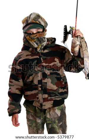 Young hunter going bow hunting - stock photo