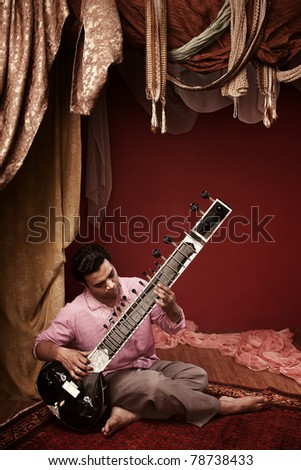 Young India man plays a sitar under ornate curtains
