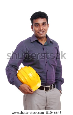 Young indian architect posing with safety helmet/ Young indian architect/Young indian architect