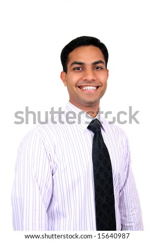 Young Indian business man smiling.
