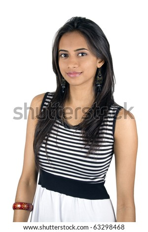 Young Indian girl isolated on a white background. - stock photo