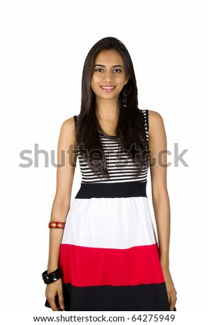 Young Indian girl isolated on a white background.