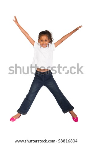 young indian kid jumping high