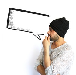 Young Indian Man thinking of thought bubble on white Background
