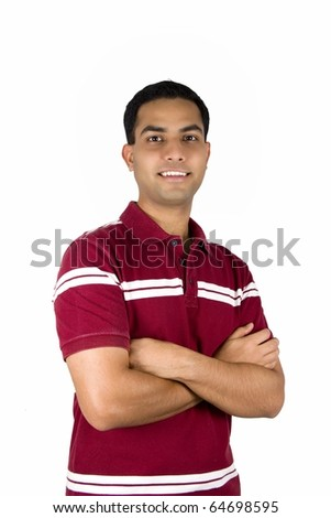 Young Indian student. Isolated on a white background.