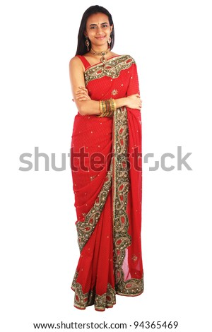 Young Indian woman in traditional clothing - stock photo