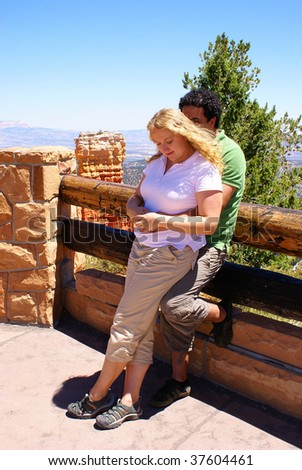 Young inter-ethnic couple in Bryce Canyon National Park