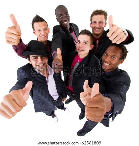Young interracial group of teenage  businessmen giving a thumbs up sign. Fresh trendy models.