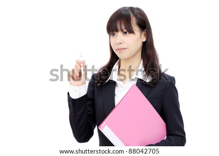 Young japanese business woman holding a file document and pen