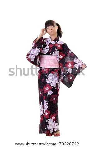 Young japanese girl in traditional clothes, full length portrait isolated on white.