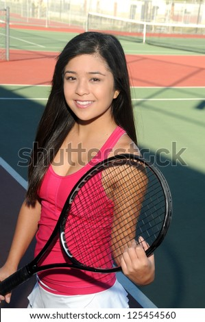 Young Japanese Tennis Player/Asian Female Player/Early morning on the tennis court with Japanese player