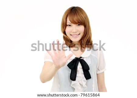 Young japanese woman giving good bye