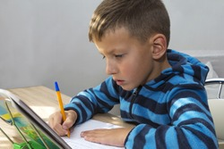 young kid, boy doing homework at home, writing in notebook
