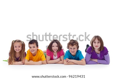 Young kids laying on the floor - childhood friendship