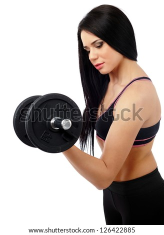 Young lady exercising with weights isolated on white background