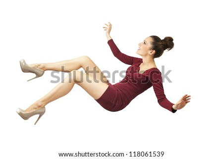 Young lady falling down