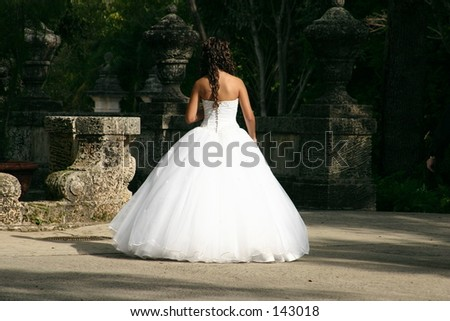 Young lady in a white gown