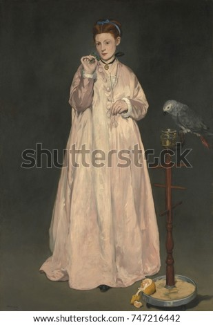 Young Lady in 1866, by Edouard Manet, 1866, French impressionist painting, oil on canvas. Some have suggested this is an allegory of the five senses: nosegay , orange (taste), parrot (hearing), and th