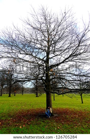 Young lady reading below a beautiful tree in Hyde Park, London, UK