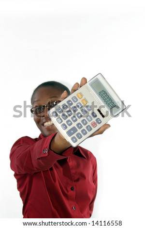 young lady smiling with calculator
