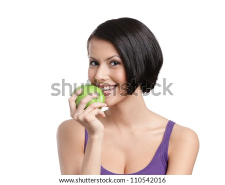 Young lady with green apple, isolated, white background