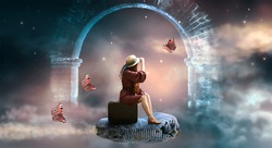 Young lady woman in retro dress and hat sitting on suitcase and flies on ammonite fossil through space and universe, idyllic fantasy scene with ghost arch ruins and butterflies, travel around world.