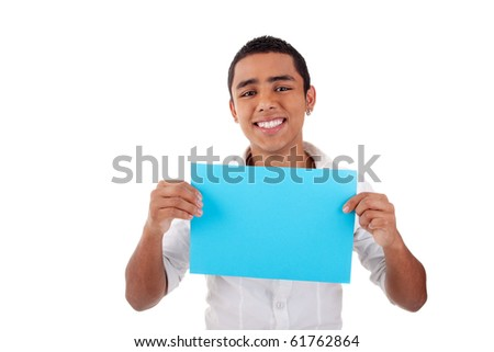 young latin man, with blue  card in hand, smiling, isolated on white background. Studio shot.