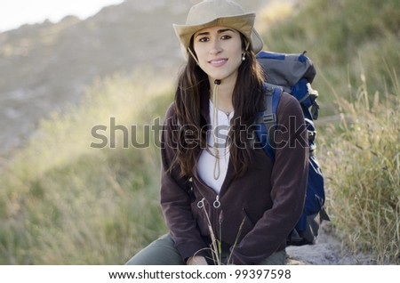 Young latin woman on a hiking trip