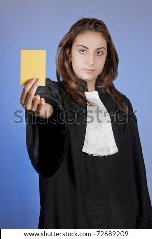 Young law school student showing a yellow card
