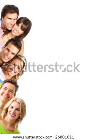 Young love people smiling. Over white background