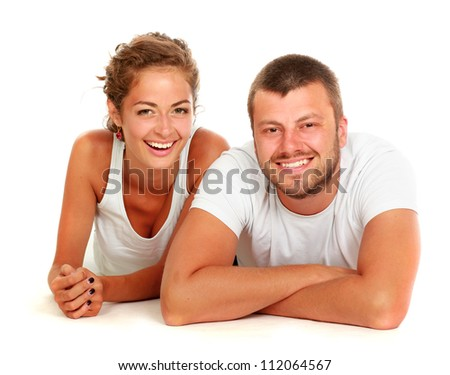 young lovely couple lying