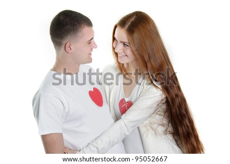 young loving couple over white