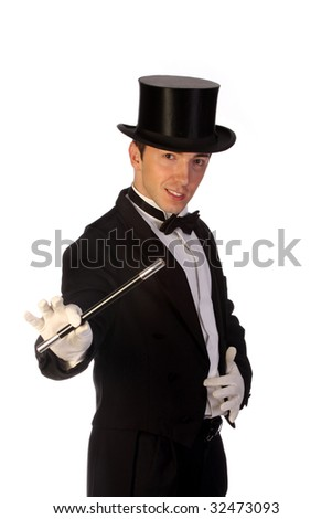 ... Magician Performing With Wand On White Background Royalty Free
